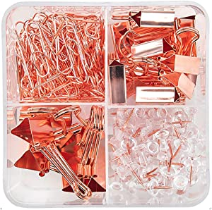 Large Paper Clip Clamp Binder Push Pin for School Supplies Multi Purpose Color Photo Holder File Document Organizer Office Cubicle Desk Home School Great For Student Kid Comes with Storage Box Accesso