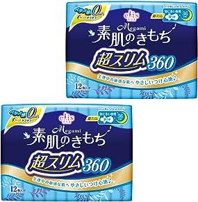 エリス Megami 素肌のきもち 超スリム 羽つき 36cm (特に多い夜) 24枚(12枚入×2パック) 【まとめ買い】