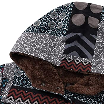 YKARITIANNA Womens African Style with Pockets Button Down Jacket Hooded Long Sleeve Vintage Coat