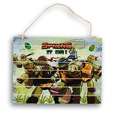 Decor Teenage Mutant Ninja Turtles Hanging Sign - Spring It On! - 12 x 9 Inches