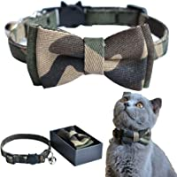 M-YOUNG Cat Collar Breakaway with Bell and Bow Tie, Camouflage Design Adjustable Safety Kitty Kitten Collars(6.8''-10.8'') (Camouflage)
