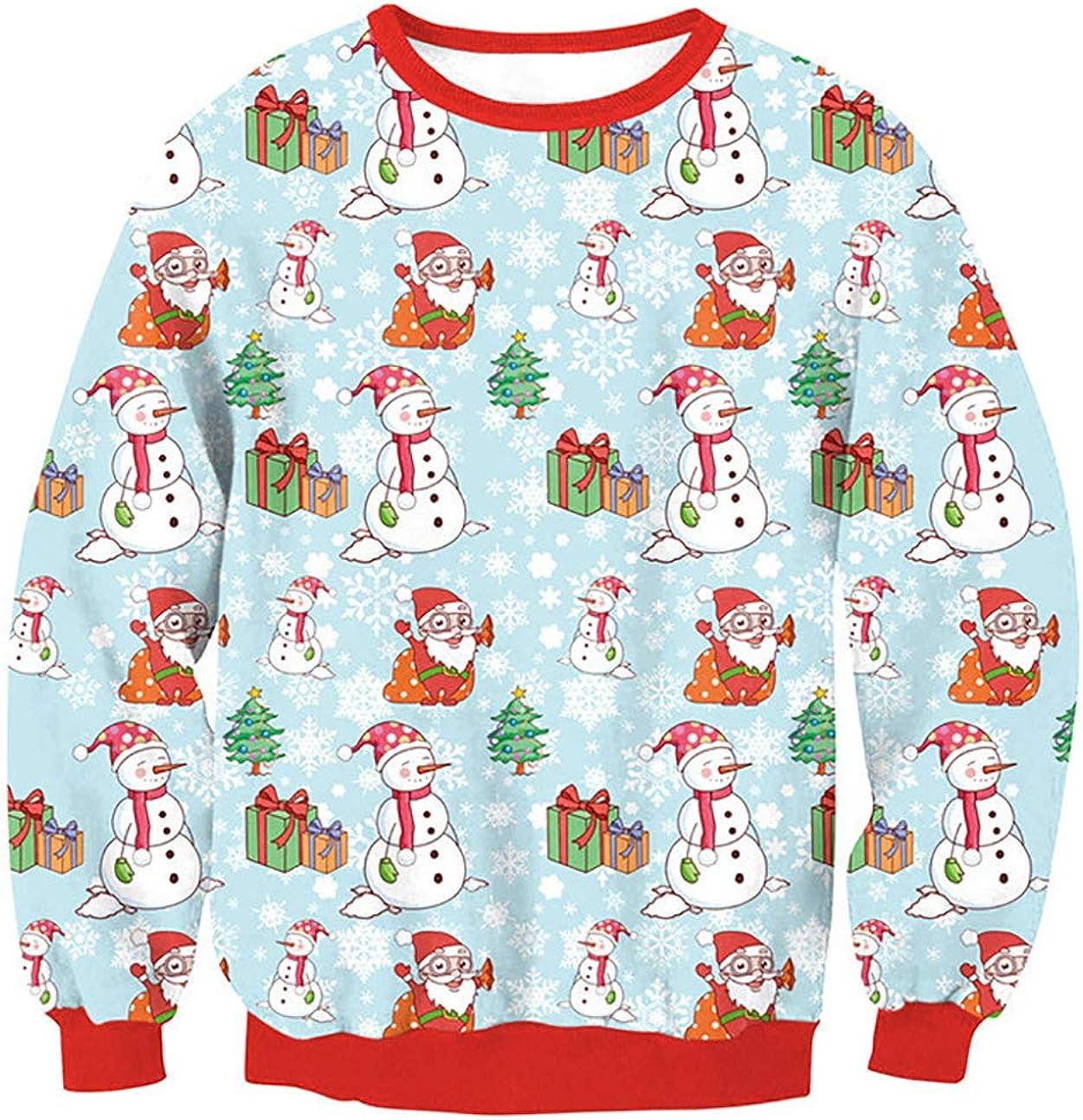 Men Cartoon Long Sleeve Snowman Snowflake Santa Graphic Tops Soft Tee Sweatshirt