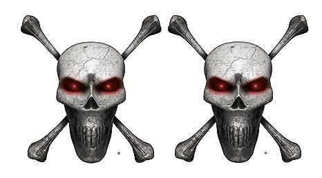 Amazon.com: Cráneo Calavera Ojos Rojos 5 en Tall motocicleta ...