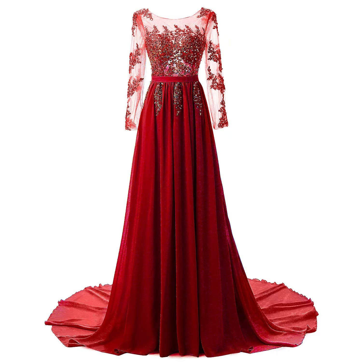 Red Honeywedding Women's Long Sequins Beaded Evening Dress with Long Sleeves Formal Prom Gown Dresses