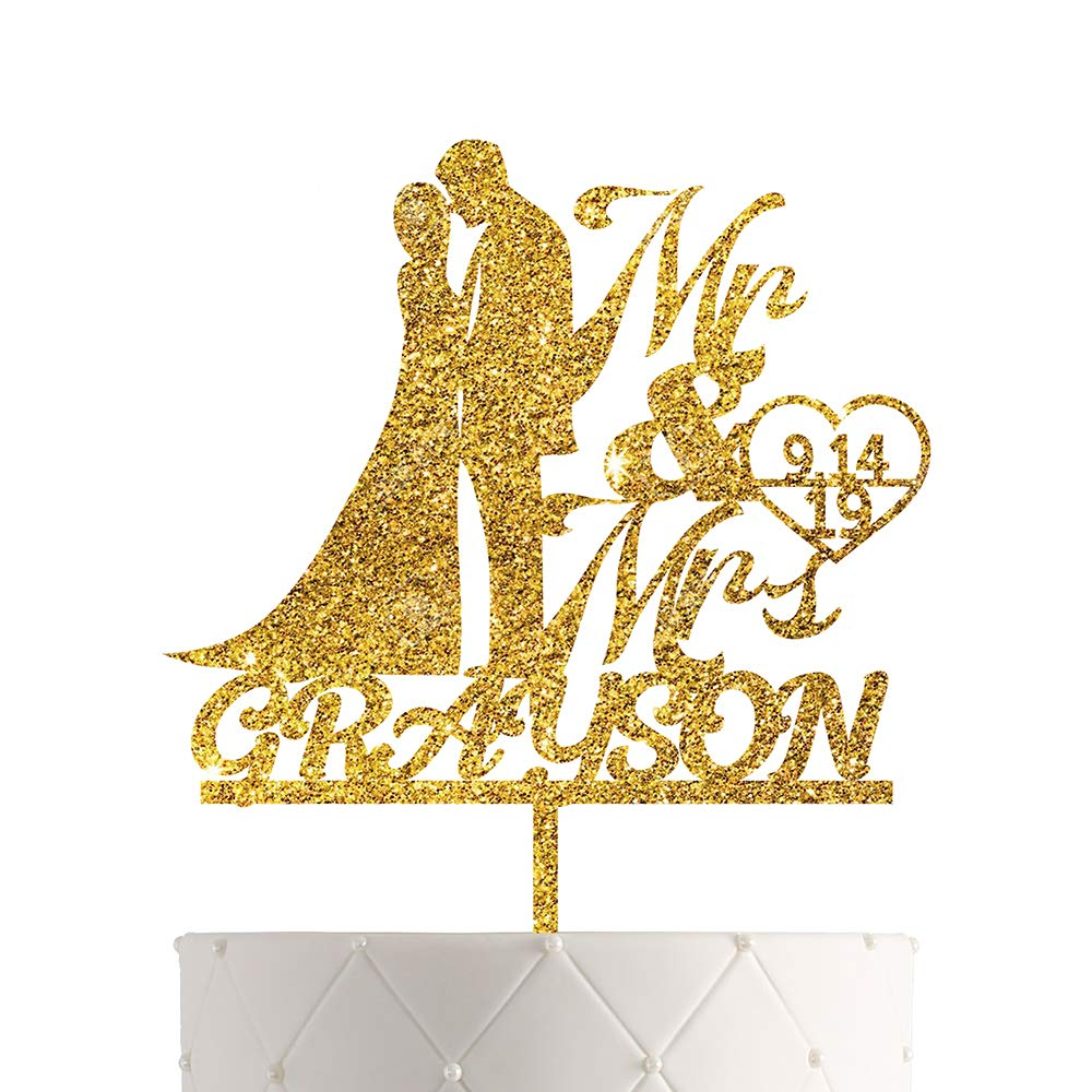Personalized Wedding Cake Topper With Customized Bride and Groom Last Name or Marriage Date for Mr Mrs (Gold Glitter)