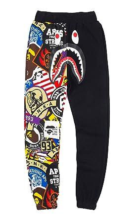 57160b20 Unisex Sports Ape Bape Casual Sweatpants Men Trousers Athletics Sweatpants  Shark Head Jaw Shorts Rap Sweatpants
