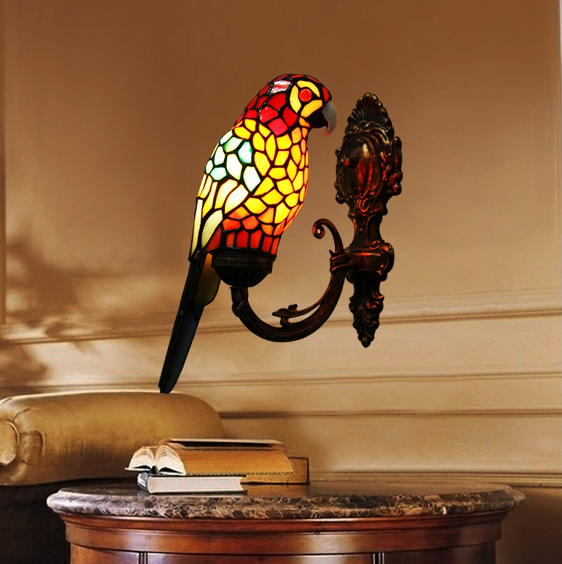 Makenier Vintage Tiffany Style Stained Glass Red Parrot Shade Wall Lamp  Fixture     Amazon.com