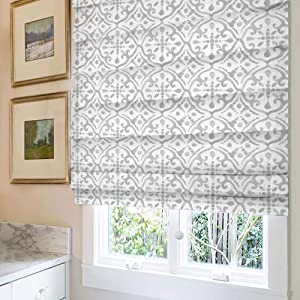 Cordless Roman Shades Window Shades, Grey Pattern Blackout Light Filtering Custom Window Roman Blinds, 10% Linen Fabric Roman Shades for Windows, French Doors, Doors, Kitchen Windows