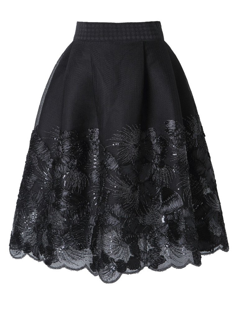 Joeoy Women's Elegant Floral Lace Embroidery Flare A-line Skater Skirt-M, Style-1(Black)
