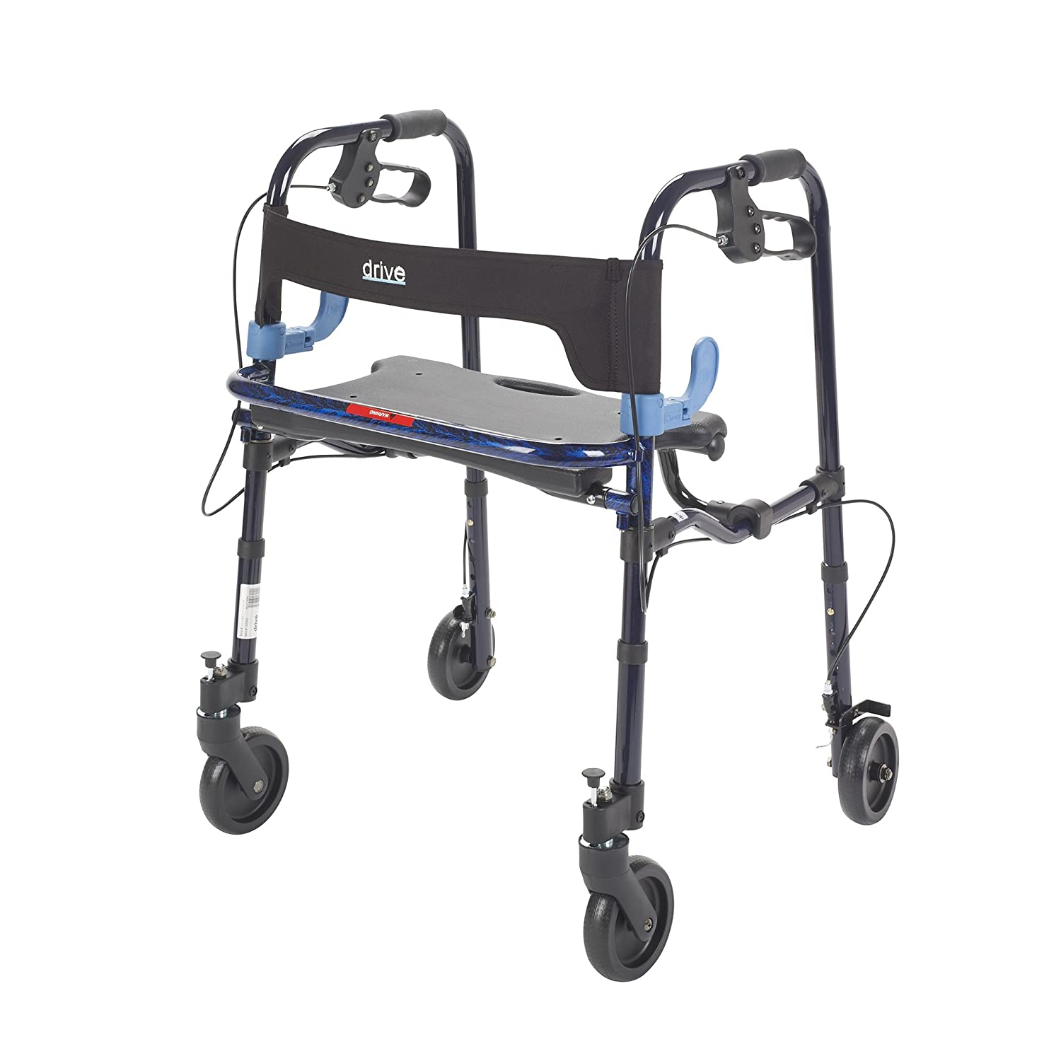 Drive Medical Deluxe Clever Lite Rollator Walker with 5' Casters, Flame Blue, Adult 10230