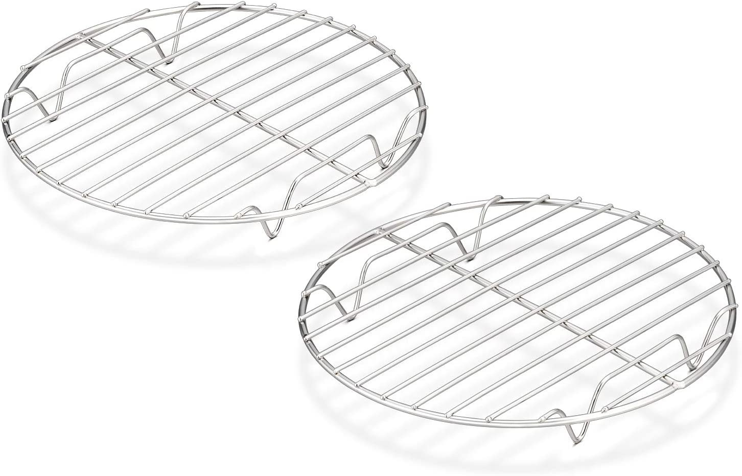 TeamFar Round Cooling Rack Set of 2, 7½ Inch Round Rack Baking Steaming Roasting Rack Set Stainless Steel, Healthy & Dishwasher Safe, Mirror Finish & Rust Free