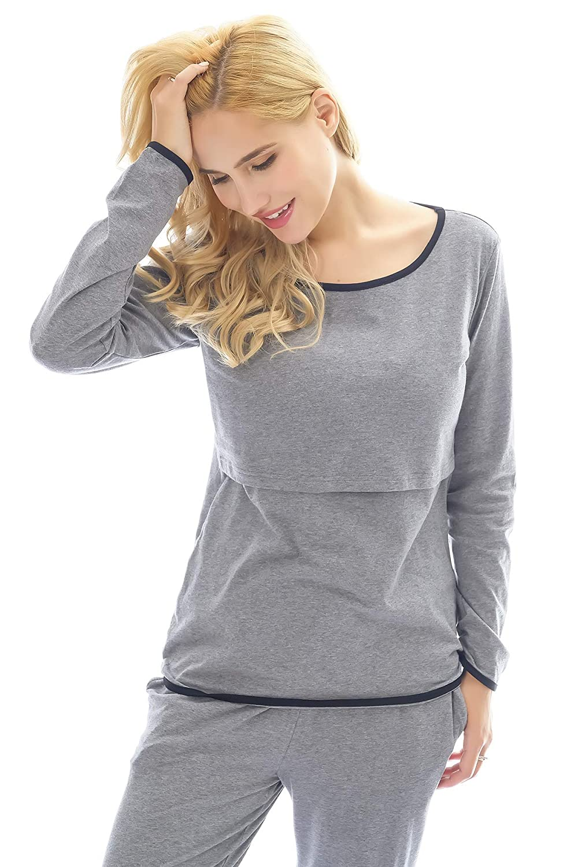 Bearsland/Womens Cotton Nursing Pajamas Sets Breastfeeding Sleepwear 2 Pcs Nightgowns