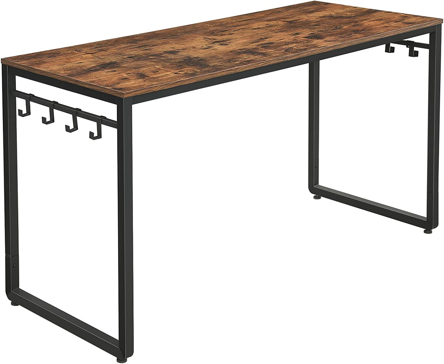 VASAGLE ALINRU Computer Desk, 55 Inch Writing Desk, Office Desk with 8 Hooks, For Study, Home Office, Easy Assembly, Metal, Industrial Design, Rustic Brown and Black ULWD59X