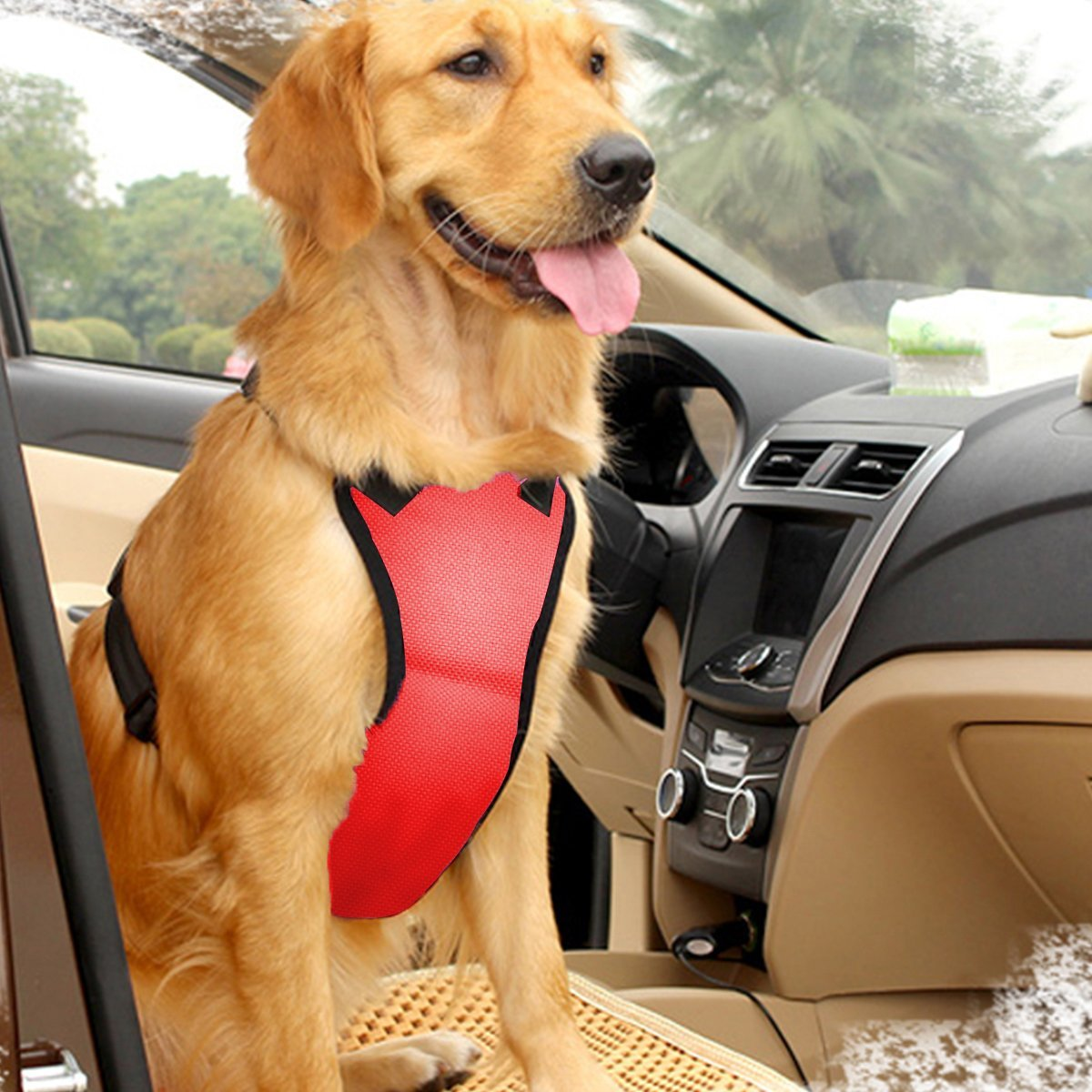 EAST-BIRD Dog Safety Vest Harness with Safety Belt for Most Car, Travel Strap Vest with Car Seat Belt Lead Adjustable Lightweight and Comfortable (M, Red)