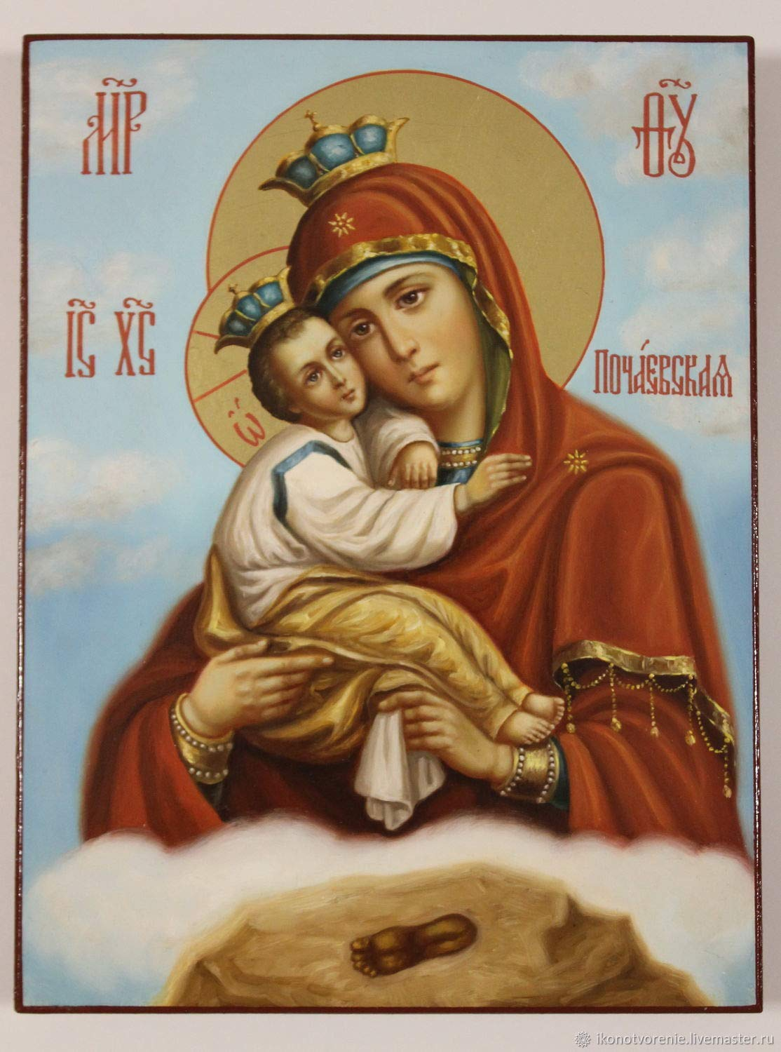 The Pochaev Icon of the Mother of God, handpainted icon, Russian Orthodox Icon (24x18 cm)