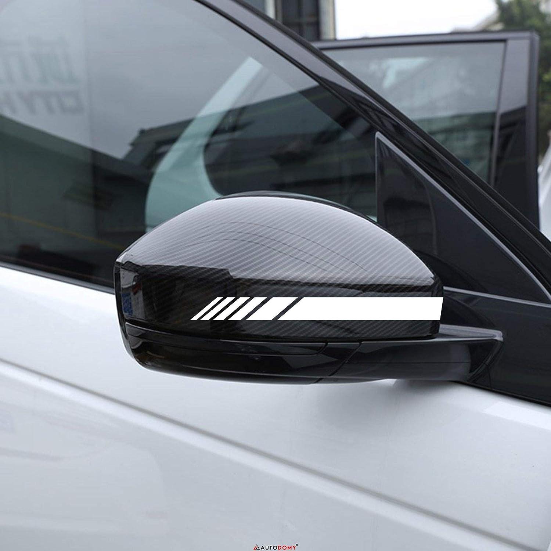 Rosso Autodomy Confezione Adesivi per Specchietti Retrovisori Car Stripes Strisce Design Confezione da 6 unit/à con Diverse larghezze per Auto