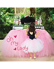 COUTUDI Valentine Table Skirt Tutu Tulle Table Cloths Tableware Cover Cloth, Lavish Baby Shower Birthday Wedding Party Valentine Bar Decor for Disney Princess (pink)