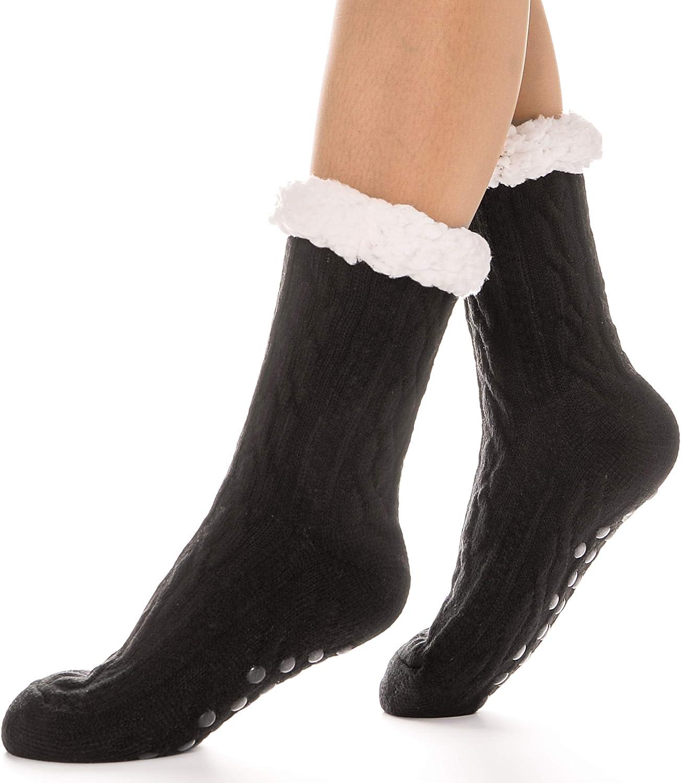 Women Winter Thick Warm Fuzzy Lined Slipper Socks Cute Animals Non-Skid Hosiery