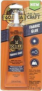 Gorilla Waterproof Fabric Glue 2.5 Ounce, 1-Pack, Clear