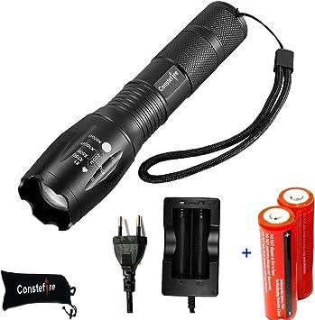 Linterna LED Recargables Tacticas Militar de Alta Potencia de Bateria Flashlight