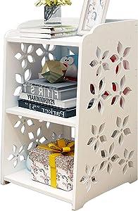 Bookcase,Storage Shelves/ 2 TierSmall Bookshelf/Kids Open Shelves/Staircase Organizer for Bathroom Living Room Bedroom Office, White