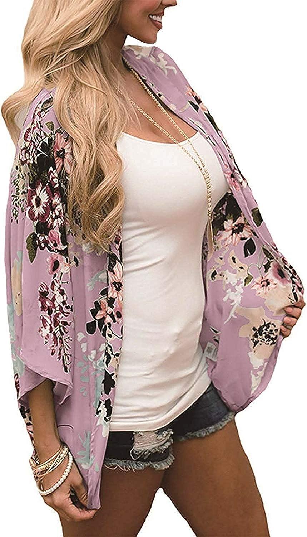Naivikid Womens 3//4 Sleeve Floral Print Kimono Sheer Chiffon Loose Cardigan S-3XXL