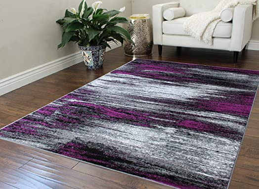 Masada Rugs, Modern Contemporary Area Rug, Purple Grey Black 5 Feet X 7 Feet