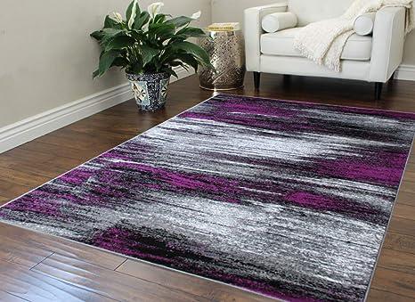 Masada Rugs Modern Contemporary Area Rug Purple Grey Black 5 Feet X 7 Feet Kitchen Dining
