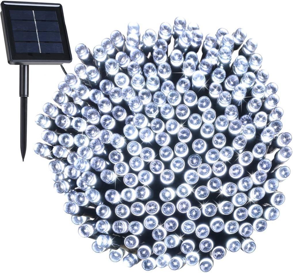 Exterior Luces de Solar decoración de Navidad, CMYK 8 modos de funciona Para Jardin, Boda, Casa ,Fiesta, Navidad, Diseño Impermeable, 200 LED 22 Metros Iluminacion de Hadas (blanco): Amazon.es: Hogar