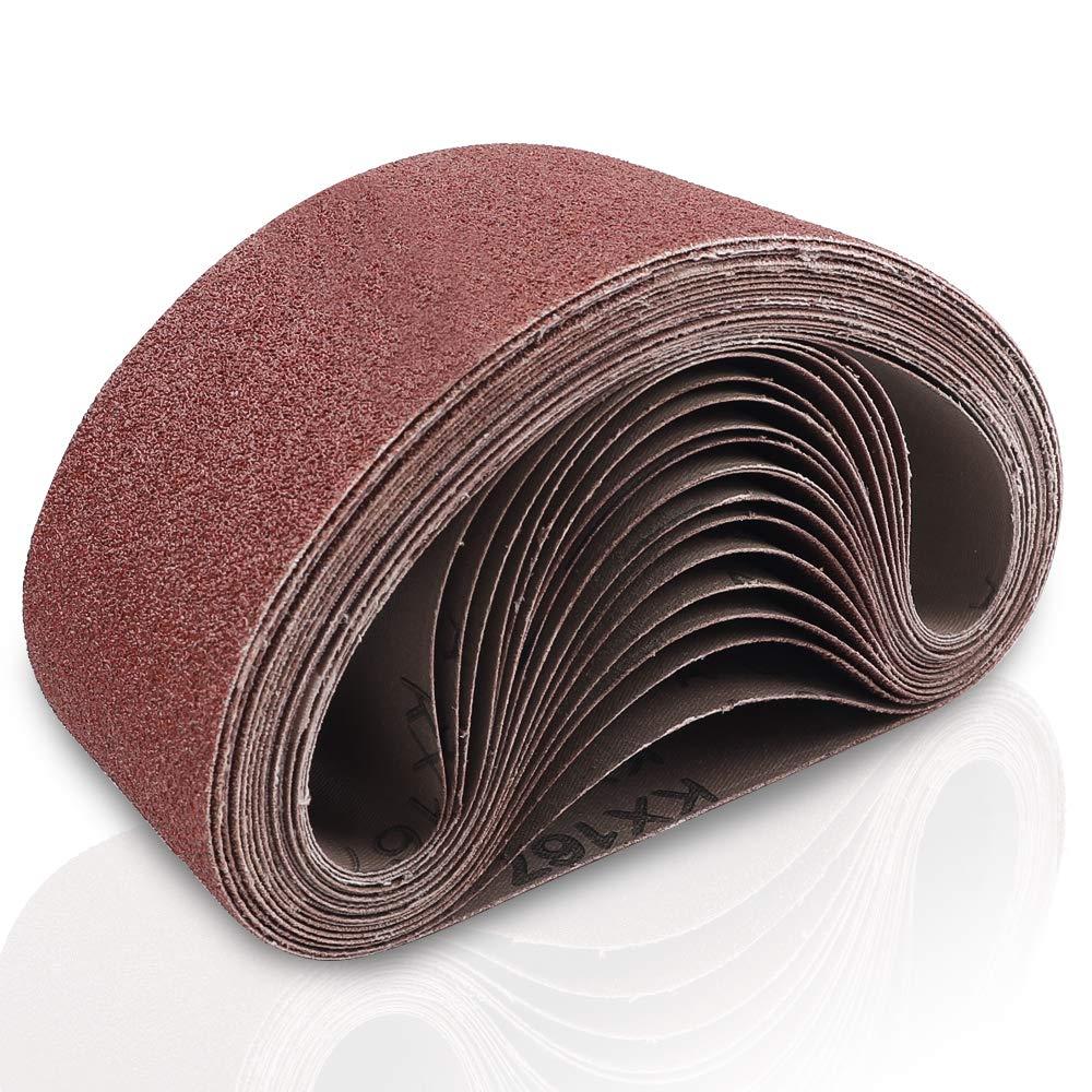 Coceca 3x18 Inches Aluminum Oxide Sanding Belt, 21 Pack Sanding Belts (3 Each of 40 60 80 120 180 240 320 Grits) for Belt Sander