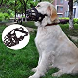 JYHY Soft Silicone Rubber Basket Dog Muzzles-Adjustable Breathable Biting Chewing Barking Training Dog mask