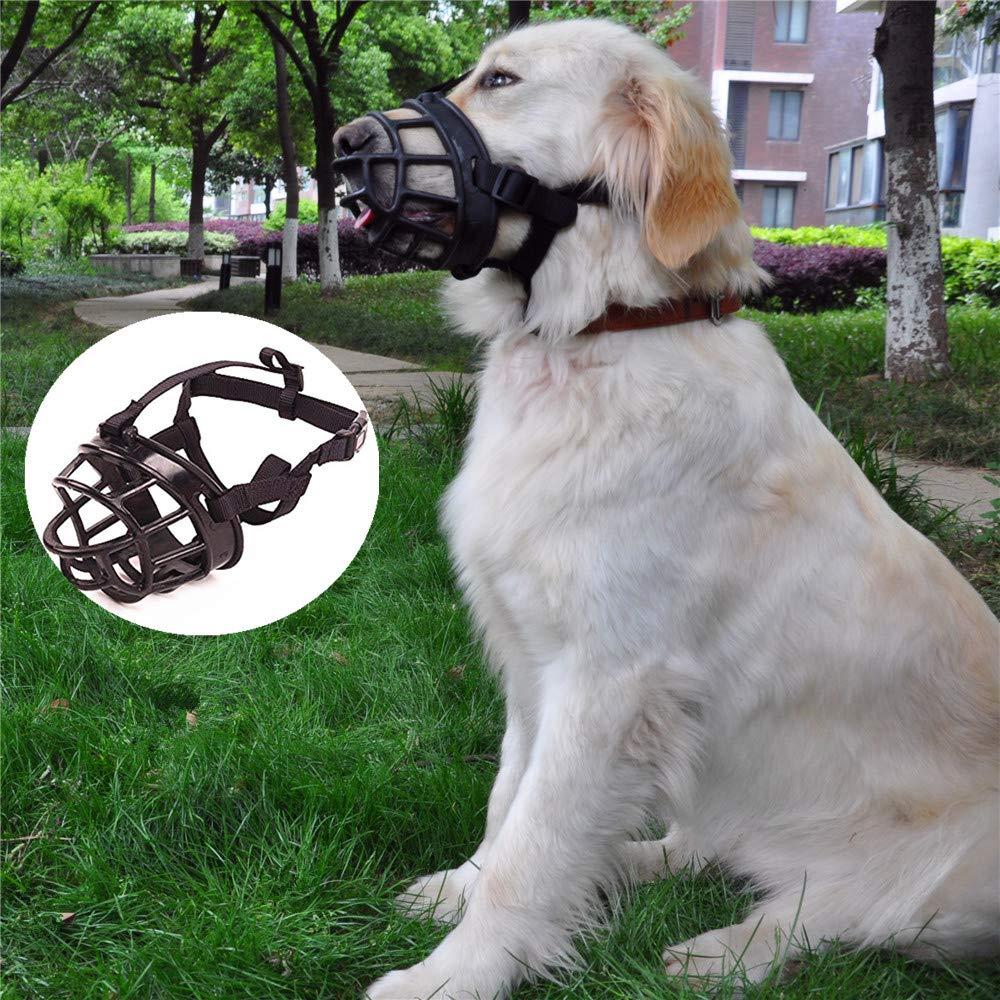 JYHY Soft Silicone Basket Dog Muzzles-Adjustable Breathable Biting Chewing Barking Training Dog mask for Small Medium Large Dogs/Black-5