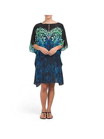 796ee9702827b Gottex Pavone Beach Dress Swimsuit Cover-UP Tunic 100% Silk (S) Blue
