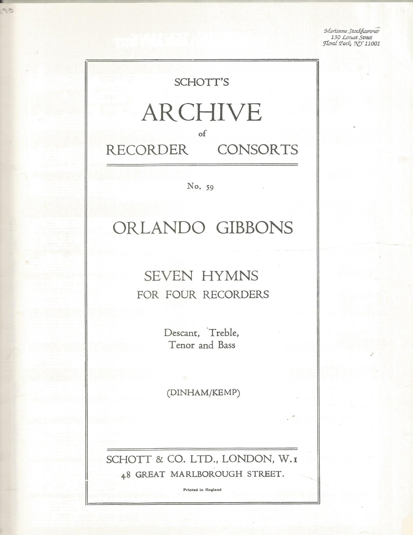 Orlando Gibbons 7 Hymns for 4 Recorders Descant,Treble,Tenor & Bass