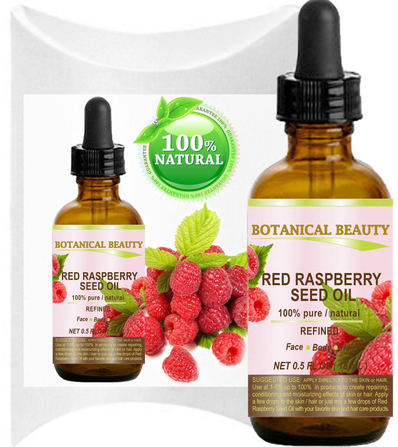 "RED RASPBERRY SEED OIL. 100% Pure / Natural / Undiluted / Refined Cold Pressed Carrier Oil. 0.5 Fl.oz.-15 ml. For Skin, Hair, Lip and Nail Care. ""One of the highest anti-oxidant, rich in vitamin A and E, Omega 3, 6 and 9 Essential Fatty Acids""."