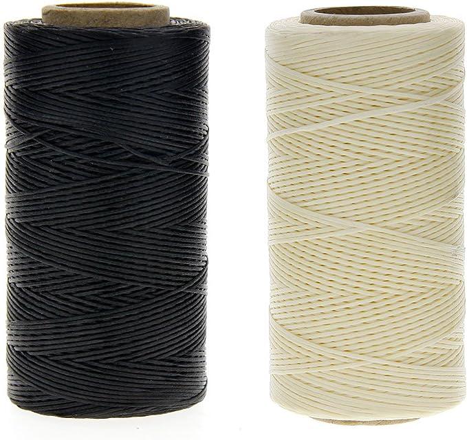JuanYa - Cuerda de hilo encerada de 150 denieres para coser cuero, color negro y beige (1 mm x 260 m): Amazon.es: Hogar