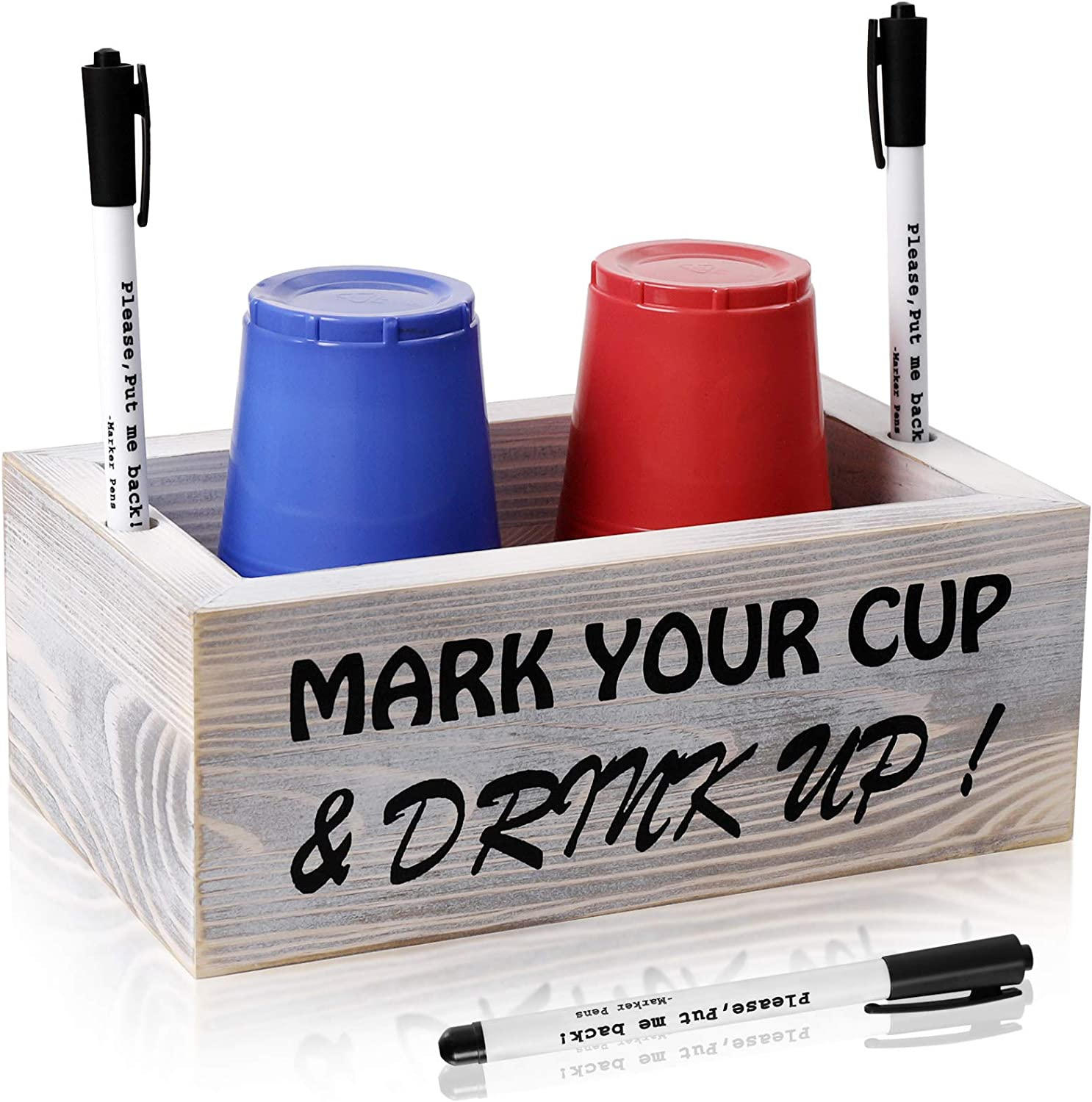 Double Solo Cup Holder with Marker Slot, Wood Party Cups Holder Includes 3 Markers- Mark Your Cup and Drink Up! Farmhouse Party Bar Rustic Wedding Decor(Double)