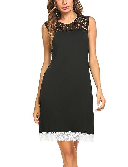 2ec82f54b3f0 MAXMODA Women s Nightgown Comfy Cotton Gowns Cozy Ladies Sleep Shirt Short  Nightwear (Black