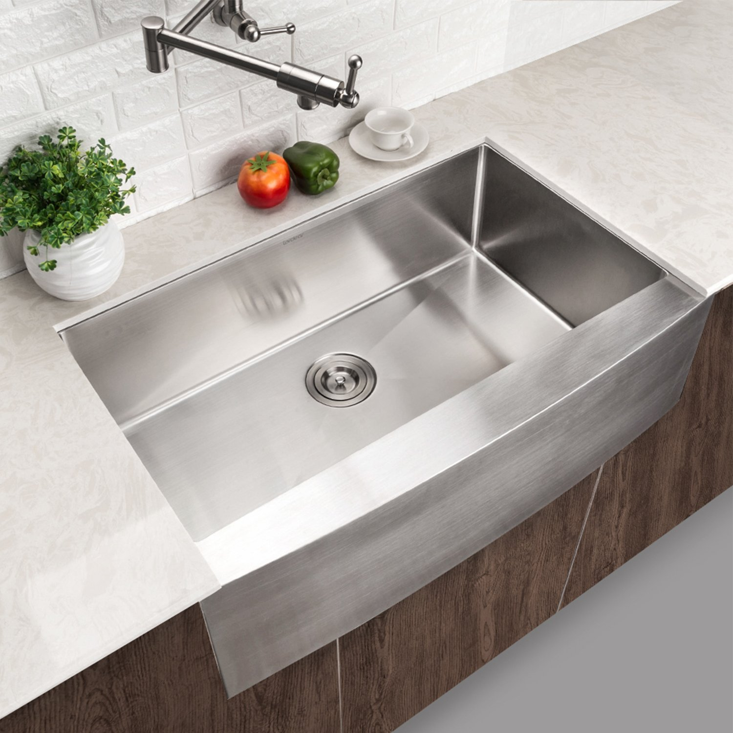 LORDEAR SLJ16003 Commercial 33 Inch 16 Gauge 10 Inch Deep Drop In Stainless Steel Undermout Single Bowl Farmhouse Apron Front Kitchen Sink, Brushed Nickel Farmhouse Kitchen Sink by Lordear (Image #7)