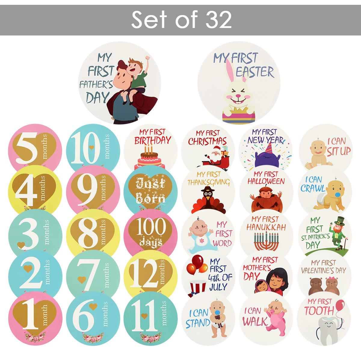 Hanpmy Pegatinas para el mes del beb/é y Pegatinas Milestone 32 Unids//set Interesantes fotos de estudio hermosas Pegatinas para beb/és Juegos de regalo