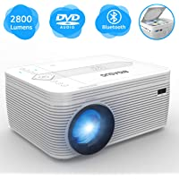 BIGASUO B-Pro302-3 Full HD 1080p 2800-Lumens LCD Portable Bluetooth Projector with Built in DVD Player