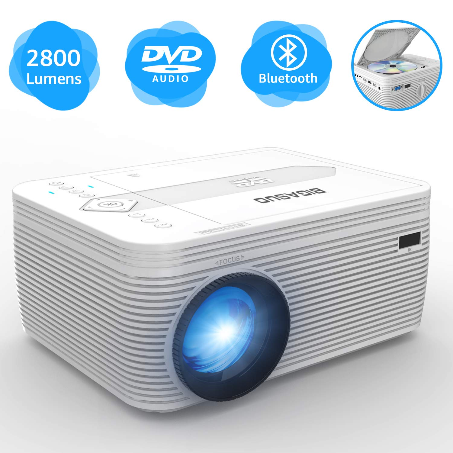 BIGASUO Projector with DVD Player, Portable Bluetooth Projector 2800 Lumens Built in DVD Player, Mini Projector Compatible with Fire TV Stick, Roku, PS4, Xbox, 170'' Display, 1080P Supported by BIGASUO