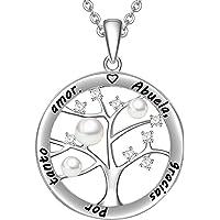 LOVORDS Collar Mujer Grabado Plata de Ley 925 Colgante Árbol de la Vida Familiar Perla Cultivada Blanca de Agua Dulce 3…
