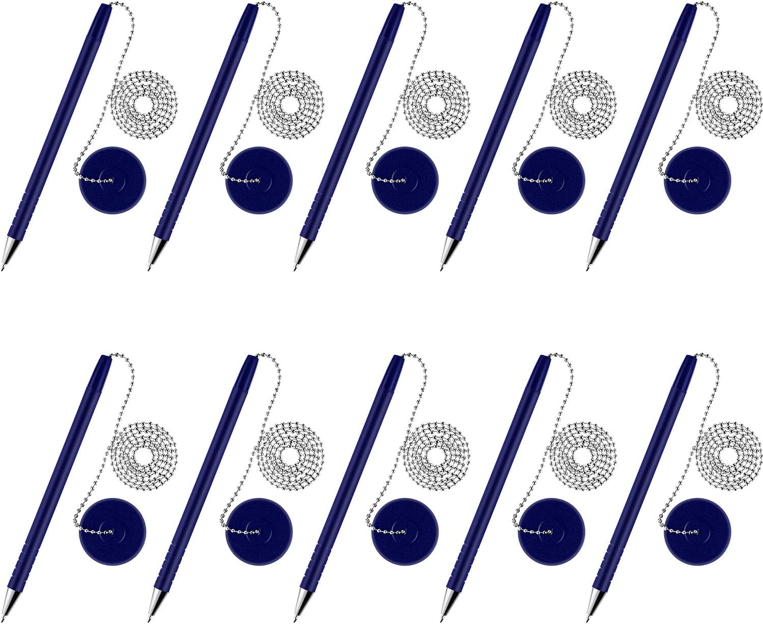 10 Pieces Secure Pen with Adhesive Pen Chain and Security Pen Holder for Home Office Supplies (Blue Ink)