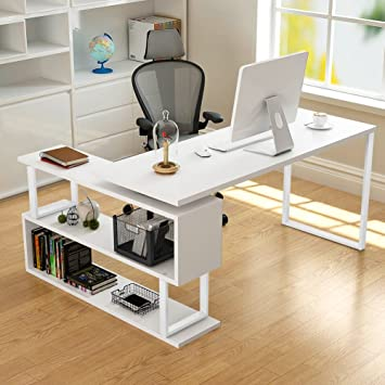 Tribesigns Modern L Shaped Desk, 55u201d Rotating Corner Computer Desk Study  Writing Table