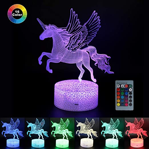Unicorn LED Night Lights Remote 3D Touch Optical Illusion Lamp for Kids Bedroom