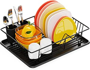 Dish Drying Rack, Warmfill Small Dish Drainer for Kitchen Counter, Durable Dish Rack and Drainboard Set with Removable Utensil Holder, Countertop or In Sink Drying Rack, Black