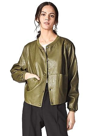 d5a387df Escalier Women's PU Leather Jacket Moto Biker Bomber Jackets Oversize -  Green -