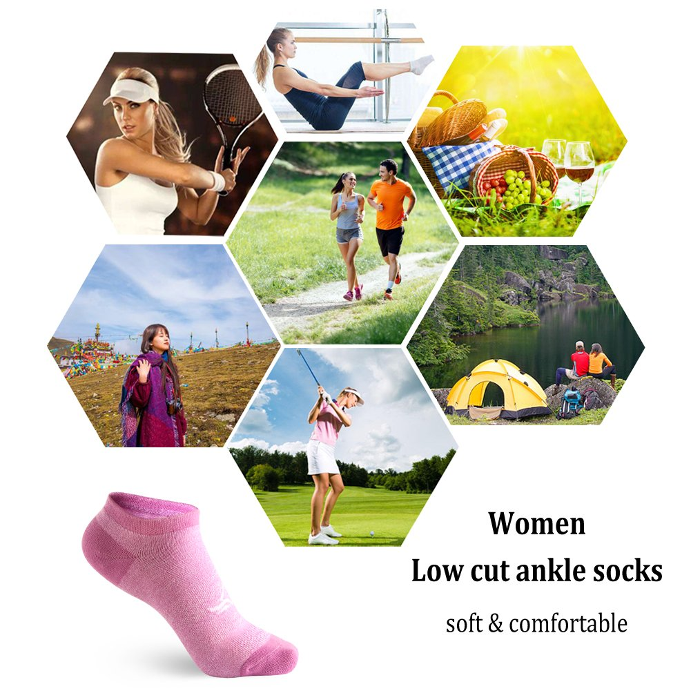 Chaussettes Baskets Courtes Femmes 5 ou 6 Paires Chaussettes Respirantes Basses /à la cheville pour les sports de plein air et lusure quotidienne