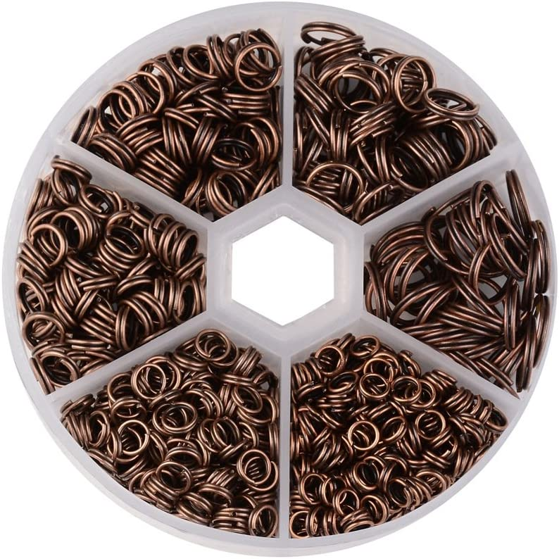 Pandahall 1 Box Iron Split Rings Double Loop Round Jump Rings for Jewelry Makings 4mm//5mm//6mm//7mm//8mm//10mm Golden